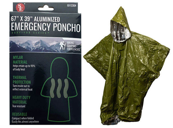 """Our Poncho uses a thermal mylar design to help protect you from the wind, rain, and cold. The mylar body and 12"""" hood help retain critical body heat."""