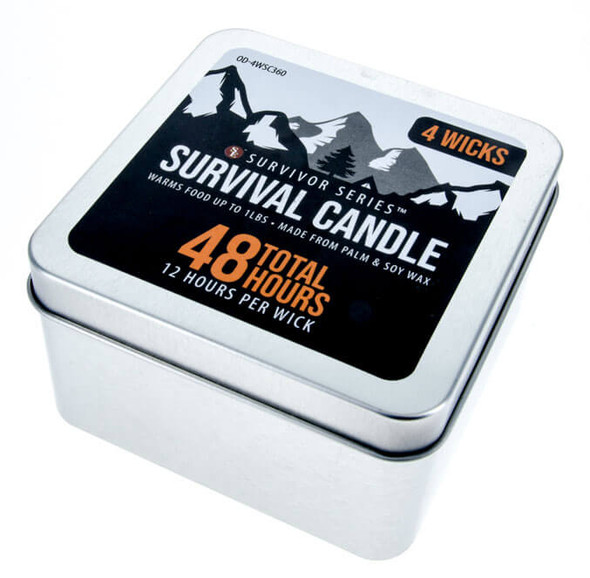 Perfect for emergencies, camping, backpacking, hunting, disaster preparedness, survival uses, and more. This 4-Wick 48-Hour Emergency Candle will provide you a light source when you need it the most.