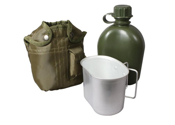 Rothco's 3 Piece Canteen Kit contains essential military camping supplies perfect for your next outdoor excursion
