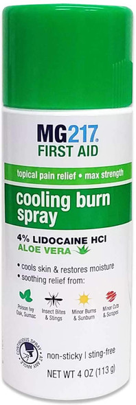 MG217 First Aid Cooling Burn Spray delivers fast topical pain relief and helps prevent skin infections. The max strength 4% Lidocaine formula works quickly to help relieve pain & itching associated with minor cuts, scrapes, burns, sunburn, insect bites & stings, and other skin irritations like poison ivy, oak, and sumac. Added aloe and camphor help cool and restore moisture to the skin.
