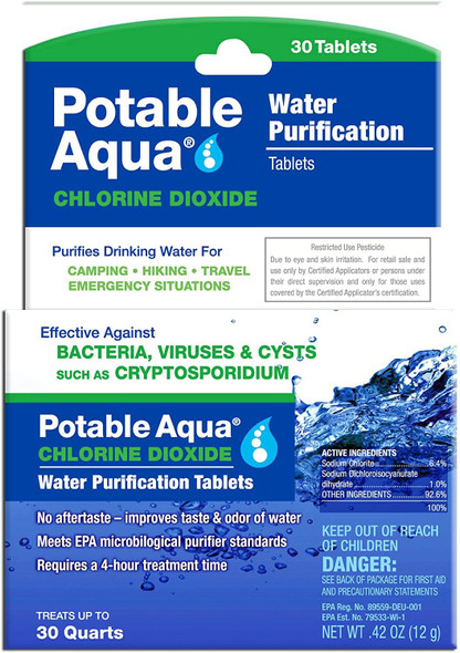 Wherever life takes you, never be without clean drinking water when you have Potable Aqua Chlorine Dioxide Water Purification Tablets. These tablets are effective against viruses, bacteria and cysts such as Giardia lamblia and Cryptosporidium, and the water purification tablets for drinking leave no aftertaste.