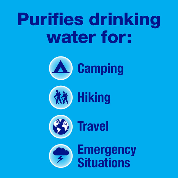 Used and trusted by military and emergency organizations worldwide, Potable Aqua Water Purification Tablets With PA Plus disinfect contaminated drinking water in any situation. Included is the two step process of water treatment for drinking water: Drinking Water Germicidal Tablets for water treatment to make water bacteriologically suitable to drink, and PA Plus tablets to neutralize the after-taste and color.