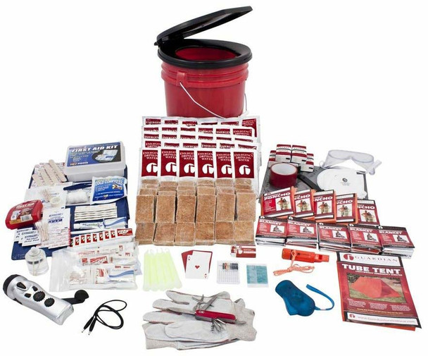 This 5 Person 72+ Hour Survival Kit is packed securely in our 5-Gallon Bucket with Toilet Seat Lid. Individual components are placed in waterproof bags and neatly organized in the bucket for easy access. Hand-assembled in the USA.