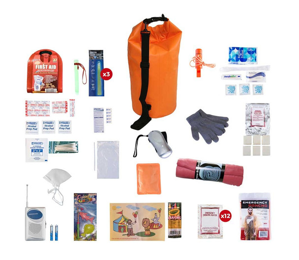 This Survival Kit for Children is assembled together to last over 72 hours. All items are packed securely in our Waterproof Dry Bag. Individual components are placed in waterproof bags and neatly organized in the backpack for easy access. Hand-assembled in the USA.