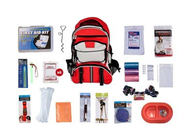 This Dog Survival Kit is packaged in our Multi-Pocket Hikers Backpack and has been designed to provide your pet with all of the necessary items to survive if you are ever forced to evacuate. By purchasing this survival kit, you will have peace of mind knowing that your dog will be safe and comfortable in any type of disaster. Hand-assembled in the USA.