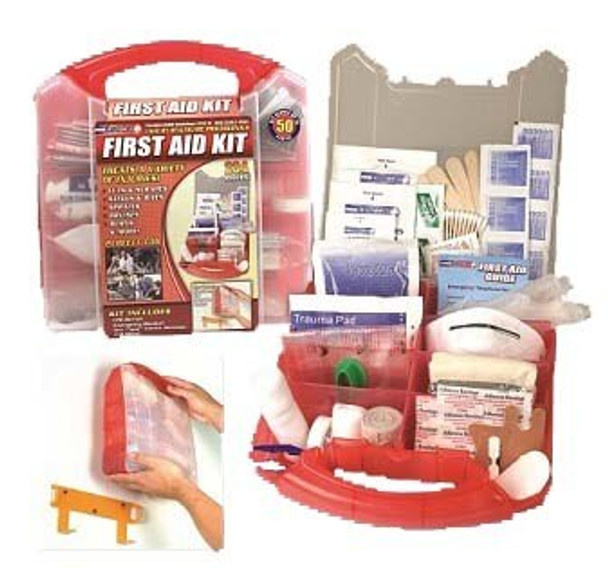 This comprehensive 234 PieceFirst Aid Kit is packaged in a red plastic case that comes with a detachable wall mount, which allows you to put it in a convenient location for easy access in a time of need.