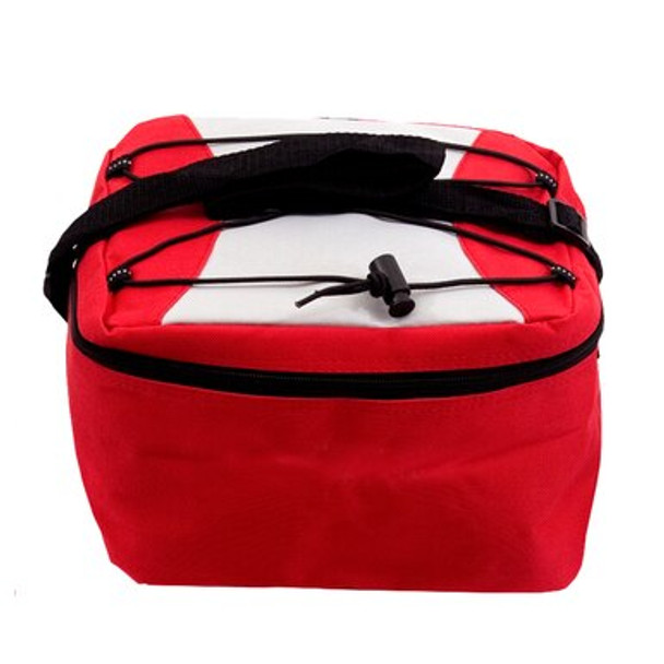 This cooler bag is made of high-quality material, unlike many cheap imitations. This red cooler bag is insulated and has an adjustable fanny pack/shoulder strap, tie-down cords on top, and a reflector stripe in the back.