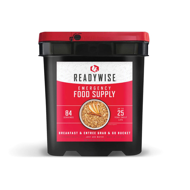 Our 84 servingbreakfast & entree grab & gobucket is a staple for any emergency. Whether you're affected by a snow storm, hurricane or other weather emergency, it's wise to be prepared. These great-tasting freeze-dried and dehydrated foods are ready in minutes when you just add water. They also come in stackable buckets with an easy Grab-N-Go handle, so they're easy to store and transport.