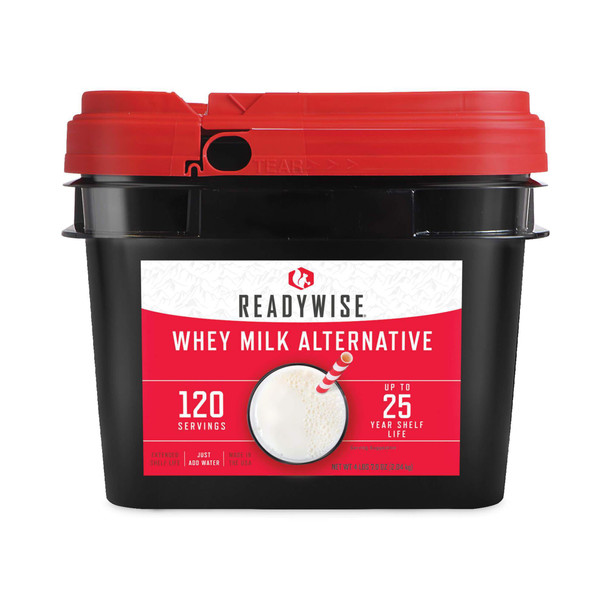120 servings of long-term powdered whey milk. Each individual bucket contains durable mylar pouches of powdered whey milk that can be re-hydrated in a matter of minutes by simply adding water. This product promises to be a nutritious and delicious addition to your Wise Company entrees and breakfasts.