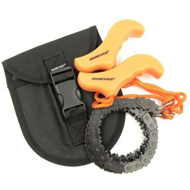 Made of high strength, grade 65 carbon steel with 128 bi-directional teeth this HUMVEE Pocket Chain Saw is the perfect item to keep in every emergency kit, car, house, or even work. Also very convenient for camping and outdoor survival. Light, compact and always the right tool for the Job.