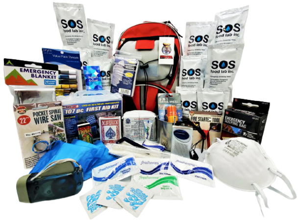 Our Survival Pro Shop 1 Person Emergency Kit has all the essentials you need during an emergency and is packed securely in our Multi-Pocket Hikers Backpack. Individual components are placed in waterproof bags and neatly organized in the backpack for easy access. Hand-assembled in the USA.
