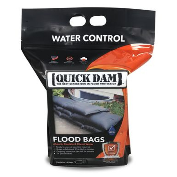 Quick Dam Flood Bags/Sandless Sandbags absorb, contain & divert problem flood water. Flood Bags absorb, swell and gel oncoming water on contact to create a durable barrier.