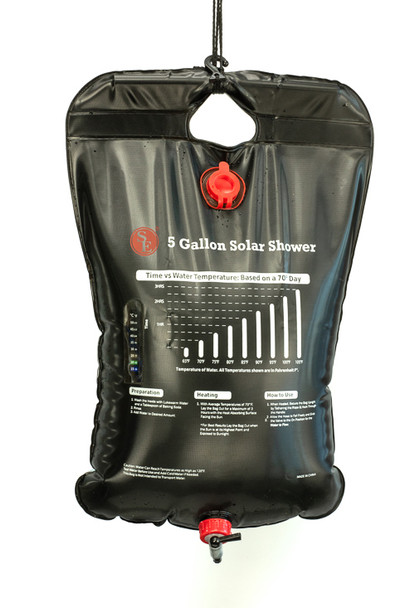 This Camping Shower Bag with Flexible Hose is convenient and safe for all your outdoor activities. Designed to carry 5 gallons of water that is durable and reliable with a handy on/off valve and 2' shower hose.