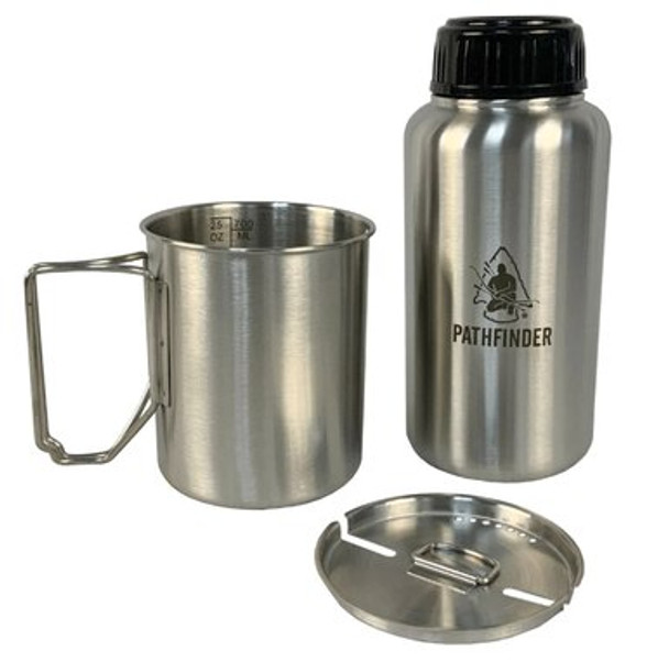 The Pathfinder Widemouth Stainless Steel Water Bottle was designed to hold exactly 32oz of liquid. The reason: Purification tablets are typically added to 32oz of water, that being the case, you can simply fill your bottle and add the tablets. No more measuring, no more worry. When it comes to storage it is very light weight and compact convenient for traveling, outdoor needs and emergencies!