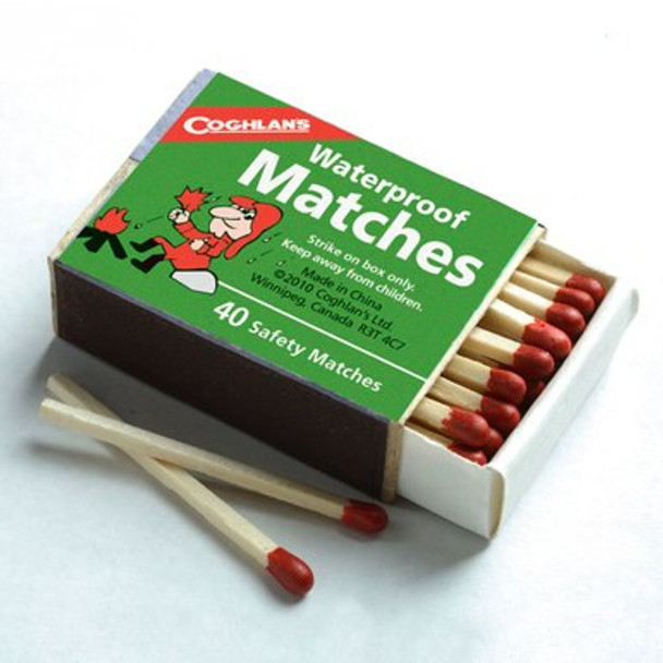 Waterproof matches is ideal for Hunters, Fishermen, Campers, or Outdoor, Workers. Approximately 40 wooden matches to a pocket size box. Safety matches cannot light accidentally, must be struck on the striker surface on box.