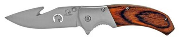 "4.63"" Hunting Pocket Knife with Gut Hook - Wooden"