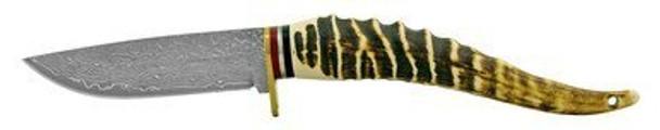 """4.75"""" Ergonomic Faux Bone Handle Damascus Hunting Knife"""