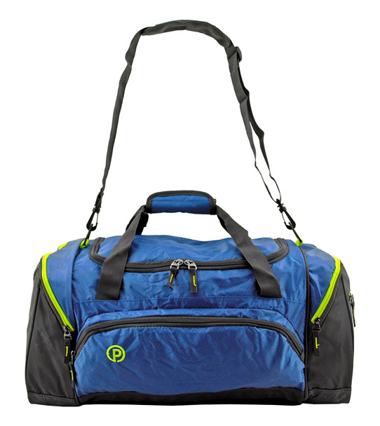 """This 24"""" Protege Carry On Travel Duffel Bag is constructed with heavy duty material, over-sized zippers and tabs. Lockable main compartment with great storage space allows you to secure your personal items no matter where you travel. Includes two side compartments for separation of additional gear. This duffel bag also features a smaller front pocket to allow for the organization and storage of smaller items. Shoulder carrying strap with padding included!"""
