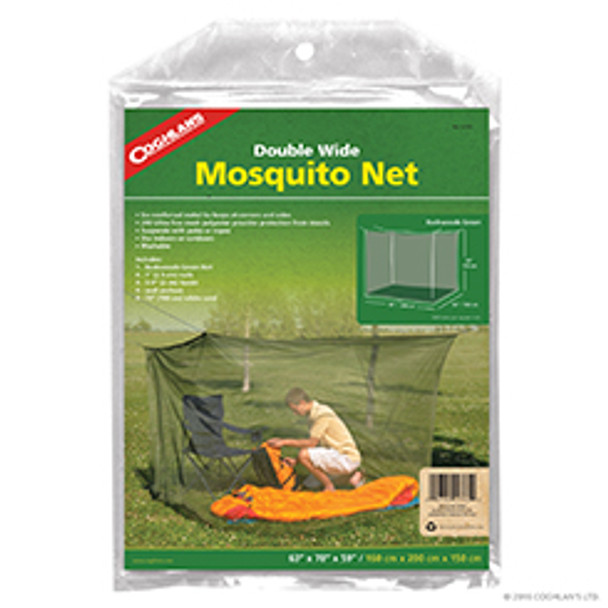 Coghlan's rectangular double-wide mosquito net provides fully enclosed protection against biting insects and mosquitoes when sleeping outdoors or indoors Fine white 180 mesh polyester netting with floor base completely covers two single sleeping bags or cots