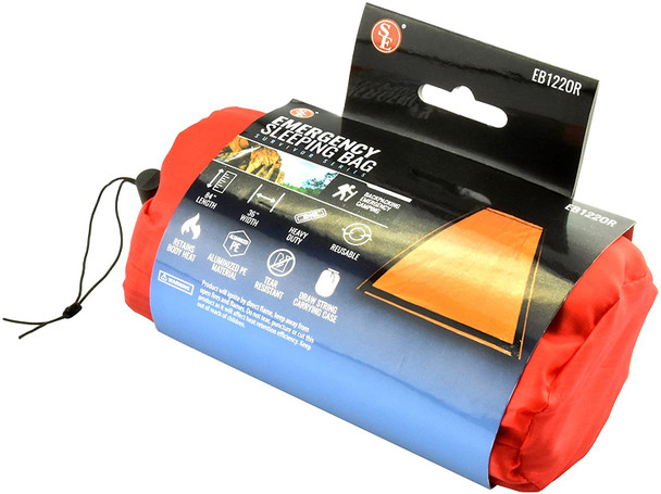 Our Emergency Sleeping Bag is a must-have for any outdoor adventure or bug-out bag. Keep it handy in case of emergencies or even pair it with your standard sleeping bag to increase insulation and warmth. The heavy duty, tear resistant material makes this bag perfect for any situation.