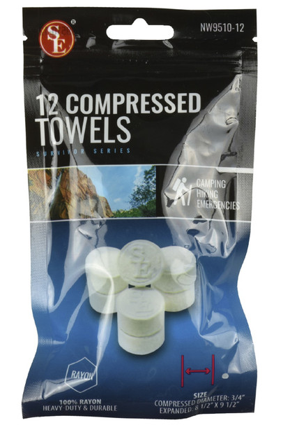 12 Pc Compressed Disposable Towels.  A must have for hiking, camping, fishing, picnics, sporting events, beach and for your emergency/survival kits. Don't get stuck without a towel to clean your hands ever!