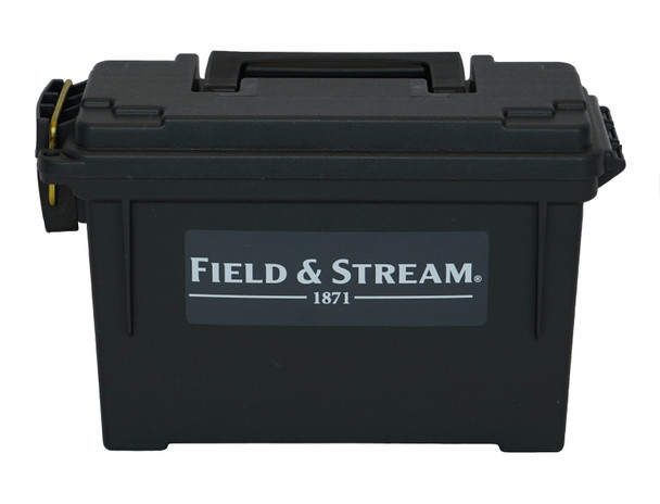 This tough ammo box is able to carry 6-8 standard boxes of ammo and securely latches in storage and during transport. An easy open top allows quick access without hassle. Easily stack the Field & Stream® Plastic Field Ammo Box with your favorite rounds.