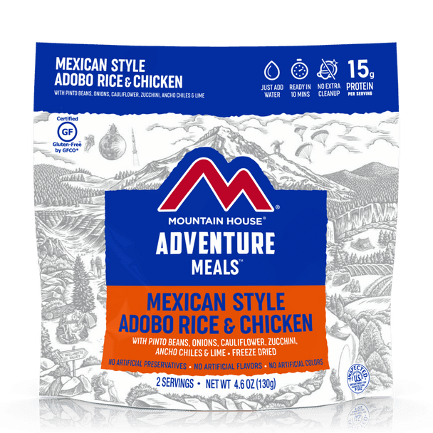 NOTHING ARTIFICIAL & GLUTEN-FREE. We let rice, chicken, pinto beans, and veggies simmer in an adobo sauce, then added lime to kick up the flavor. This meal brings south-of-the-border flavor to wherever you are. Stash in your pack for your next car camping adventure and be the envy of all your friends who only have sad granola bars to munch on.