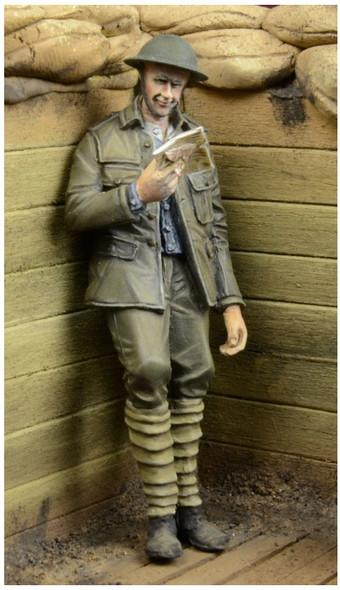 WWI British Infantryman reading a letter