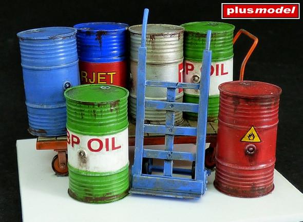 Metal barrels with handcarts