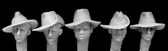 5 heads with slouch hats
