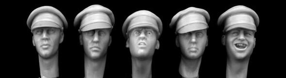 British heads WW1 field caps