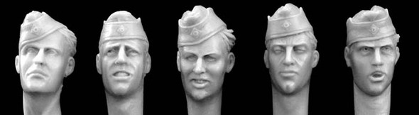 heads with German army side cap