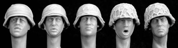 headsGerman helmets with improvised covers