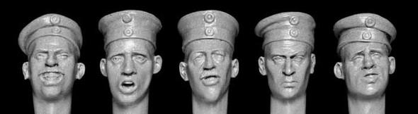 German WW1 Heads With Field Caps