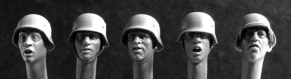 German Heads in steel helmets