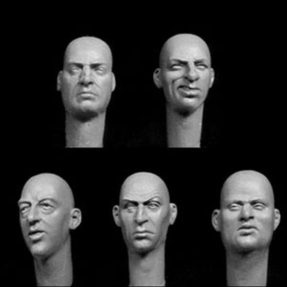 5 additional bald heads, European features