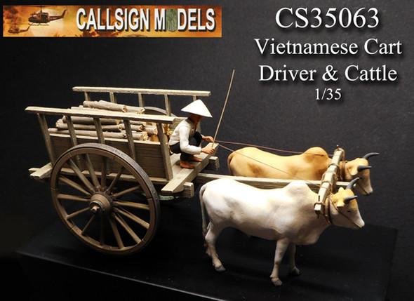 Vietnamese Cart, Driver and Cattle (2)