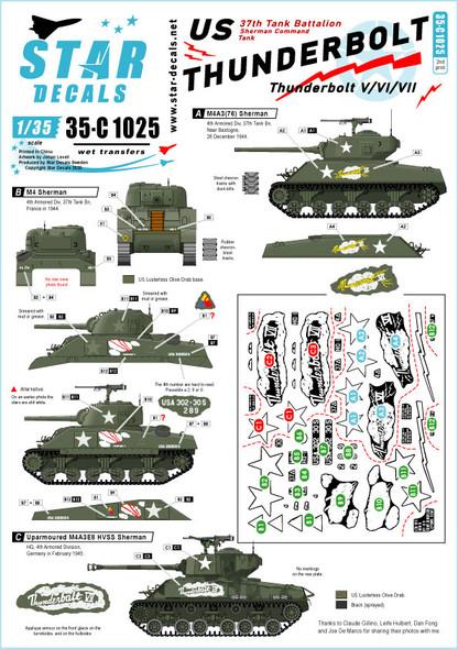Thunderbolt V / VI / VII.  Lt.Col. Abrams M4 Sherman, M4A3 (76) and M4A3E8 HVSS tanks.