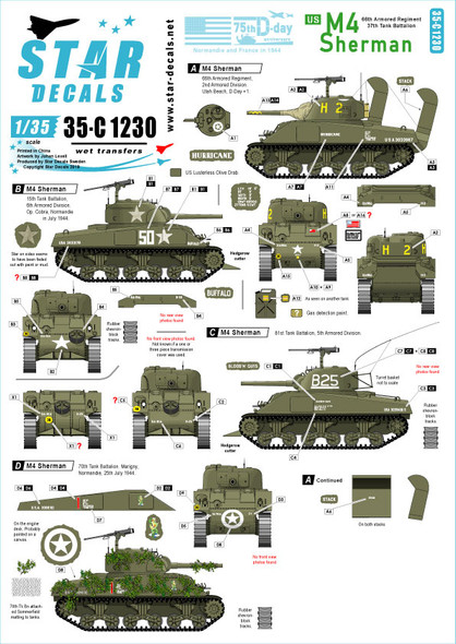 US M4 Sherman. 75th-D-Day-Special. Normandy and France in 1944.