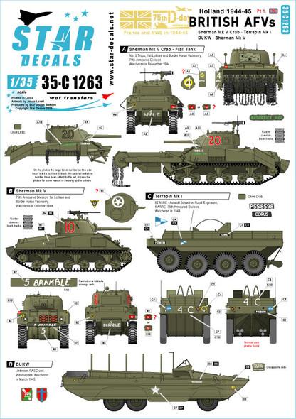 British Tanks & AFVs in Holland. Sherman Mk V, Sherman Crab, DUKW, Terrapin.