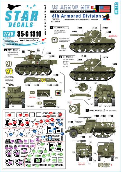 US Armored Mix # 3. 6th Armored Division in Europe. M4 Sherman, M5A1 Stuart and M3A1 Halftrack.