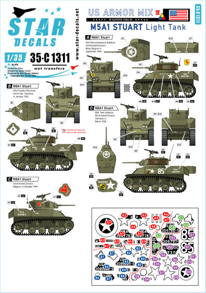 US Armored Mix # 4. M5A1 Stuart light tank in Europe 1944-45.