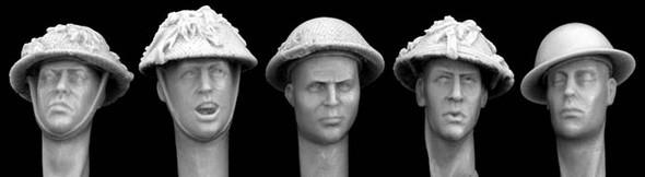 British WW2 helmeted heads