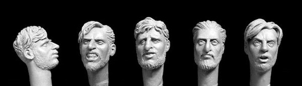 5 unkempt heads with beards