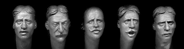 European faces with haircuts and facial hair circa 1880 -1914.