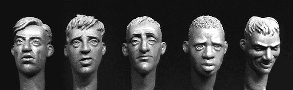 5 heads with hair, 1 African, 4 Europeans
