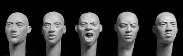 5 heads, short hair, Central Asian features