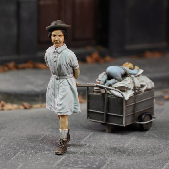 Girl refugee with trolley