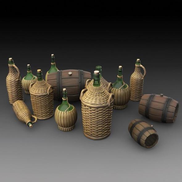 Wicker Bottles and Wooden barrels