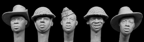 5 heads, Africans in British service WW2,